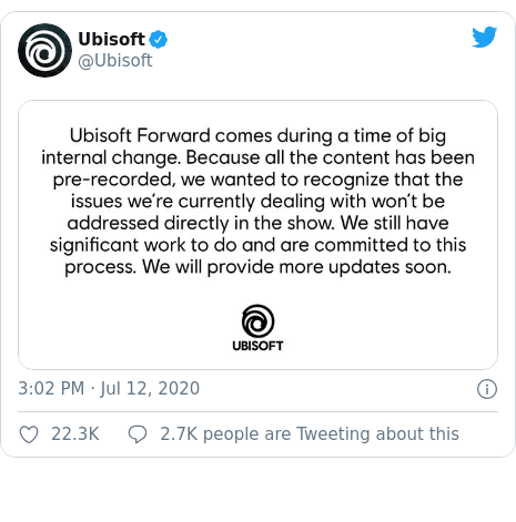 Twitter post by @Ubisoft: