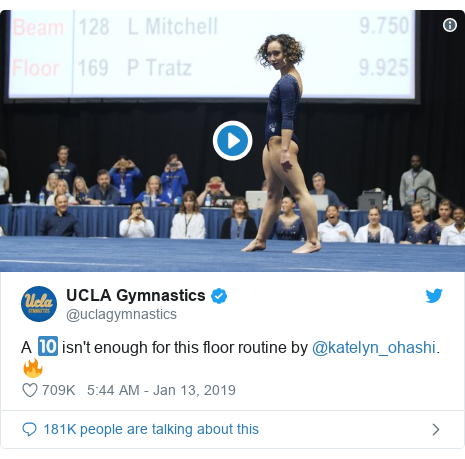 Twitter post by @uclagymnastics: A 🔟 isn't enough for this floor routine by @katelyn_ohashi. 🔥