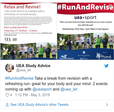 Twitter post by @uea_let: #RunAndRevise  seize a  shatter from revision with a refreshing run-  remarkable for your  carcass and your mind. 2 events coming up with @ueasport and @uea_let