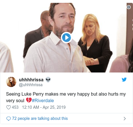 Twitter post by @uhhhhrissa: Seeing Luke Perry makes me very happy but also hurts my very soul 💔#Riverdale