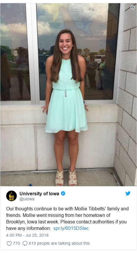Twitter post by @uiowa: Our thoughts continue to be with Mollie Tibbetts' family and friends. Mollie went missing from her hometown of Brooklyn, Iowa last week. Please contact authorities if you have any information