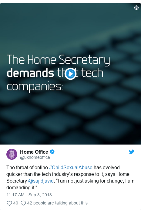 "Twitter post by @ukhomeoffice: The threat of online #ChildSexualAbuse has evolved quicker than the tech industry's response to it, says Home Secretary @sajidjavid  ""I am not just asking for change, I am demanding it."""