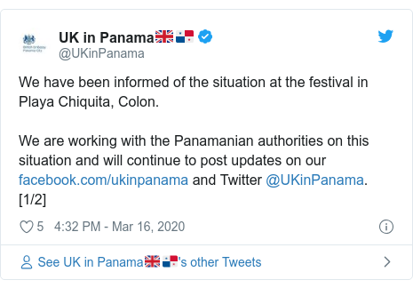 Twitter post by @UKinPanama: We have been informed of the situation at the festival in Playa Chiquita, Colon.We are working with the Panamanian authorities on this situation and will continue to post updates on our  and Twitter @UKinPanama. [1/2]