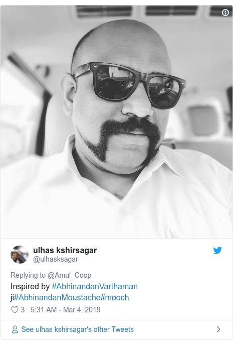 Twitter post by @ulhasksagar: Inspired by #AbhinandanVarthaman ji#AbhinandanMoustache#mooch