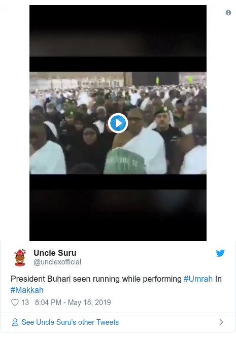 Twitter post by @unclexofficial: President Buhari seen running while performing #Umrah In #Makkah