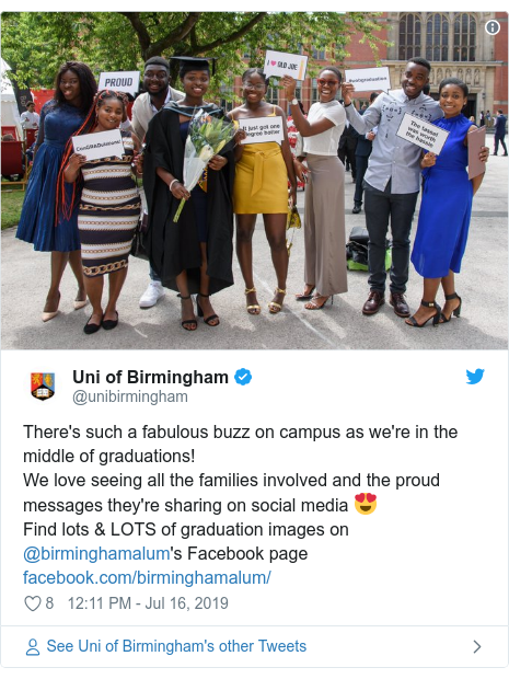 Twitter post by @unibirmingham: There's such a fabulous buzz on campus as we're in the middle of graduations! We love seeing all the families involved and the proud messages they're sharing on social media 😍Find lots & LOTS of graduation images on @birminghamalum's Facebook page