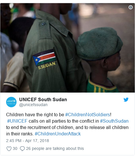 Ujumbe wa Twitter wa @unicefssudan: Children have the right to be #ChildrenNotSoldiers! #UNICEF calls on all parties to the conflict in #SouthSudan to end the recruitment of children, and to release all children in their ranks. #ChildrenUnderAttack