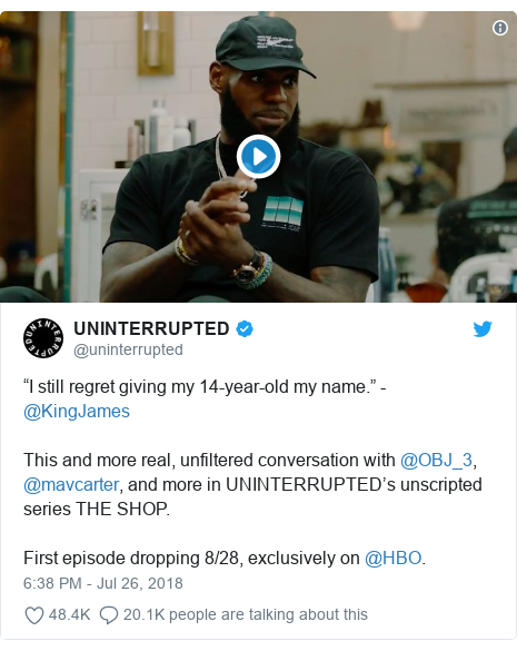 "Twitter post by @uninterrupted: ""I still regret giving my 14-year-old my name."" - @KingJamesThis and more real, unfiltered conversation with @OBJ_3, @mavcarter, and more in UNINTERRUPTED's unscripted series THE SHOP. First episode dropping 8/28, exclusively on @HBO."