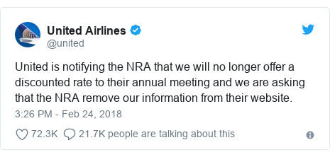 Twitter post by @united: United is notifying the NRA that we will no longer offer a discounted rate to their annual meeting and we are asking that the NRA remove our information from their website.