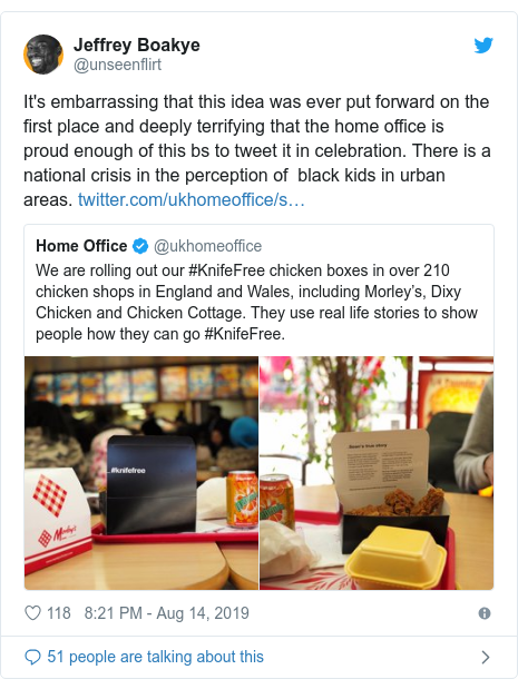 Twitter post by @unseenflirt: It's embarrassing that this idea was ever put forward on the first place and deeply terrifying that the home office is proud enough of this bs to tweet it in celebration. There is a national crisis in the perception of  black kids in urban areas.