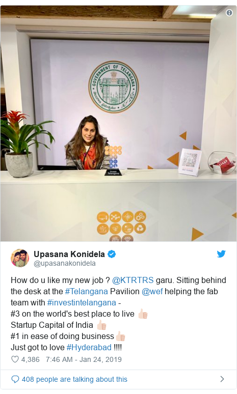 Twitter post by @upasanakonidela: How do u like my new job ? @KTRTRS garu. Sitting behind the desk at the #Telangana Pavilion @wef helping the fab team with #investintelangana - #3 on the world's best place to live 👍🏻Startup Capital of India 👍🏻#1 in ease of doing business👍🏻Just got to love #Hyderabad !!!!
