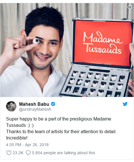 Twitter post by @urstrulyMahesh: Super happy to be a part of the prestigious Madame Tussauds  )  ) Thanks to the team of artists for their attention to detail. Incredible!