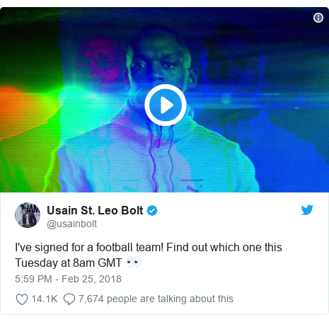 Twitter post by @usainbolt: I've signed for a football team! Find out which one this Tuesday at 8am GMT 👀