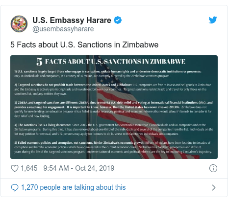 Twitter ubutumwa bwa @usembassyharare: 5 Facts about U.S. Sanctions in Zimbabwe