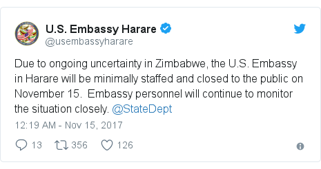 Twitter post by @usembassyharare: Due to ongoing uncertainty in Zimbabwe, the U.S. Embassy in Harare will be minimally staffed and closed to the public on November 15.  Embassy personnel will continue to monitor the situation closely. @StateDept