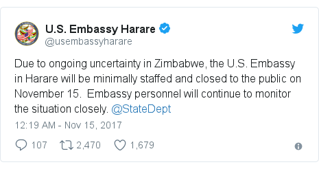 Twitter waxaa daabacay @usembassyharare: Due to ongoing uncertainty in Zimbabwe, the U.S. Embassy in Harare will be minimally staffed and closed to the public on November 15. Embassy personnel will continue to monitor the situation closely. @StateDept