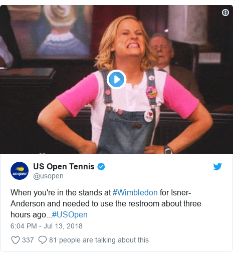 Twitter post by @usopen: When you're in the stands at #Wimbledon for Isner-Anderson and needed to use the restroom about three hours ago...#USOpen