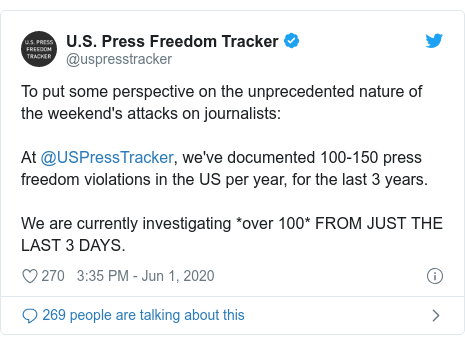 Twitter post by @uspresstracker: To put some perspective on the unprecedented nature of the weekend's attacks on journalists  At @USPressTracker, we've documented 100-150 press freedom violations in the US per year, for the last 3 years. We are currently investigating *over 100* FROM JUST THE LAST 3 DAYS.