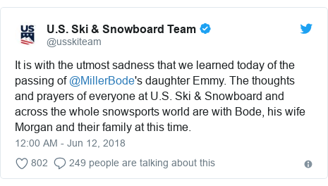 Twitter post by @usskiteam: It is with the utmost sadness that we learned today of the passing of @MillerBode's daughter Emmy. The thoughts and prayers of everyone at U.S. Ski & Snowboard and across the whole snowsports world are with Bode, his wife Morgan and their family at this time.