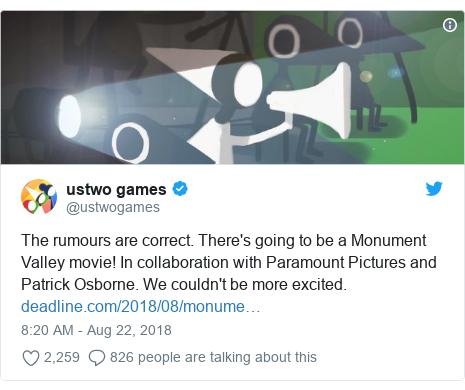 Twitter post by @ustwogames: The rumours are correct. There's going to be a Monument Valley movie! In collaboration with Paramount Pictures and Patrick Osborne. We couldn't be more excited.