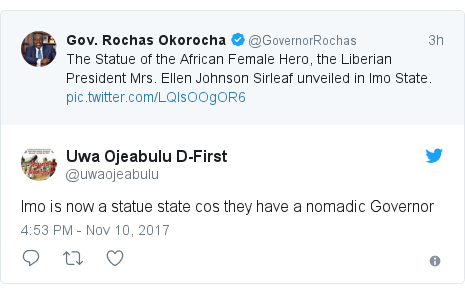 Twitter post by @uwaojeabulu: Imo is now a statue state cos they have a nomadic Governor