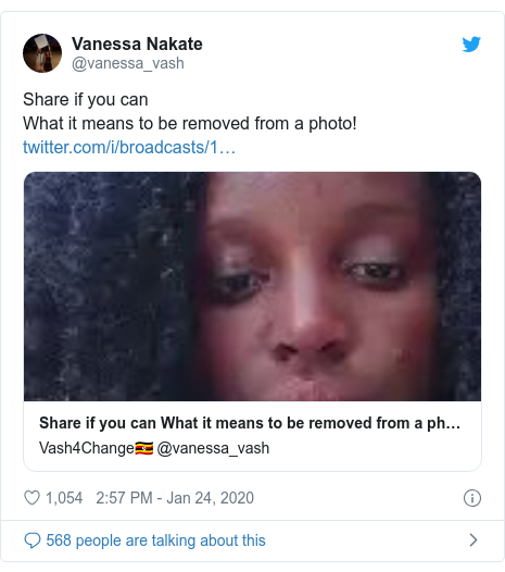 Twitter post by @vanessa_vash: Share if you can What it means to be removed from a photo!