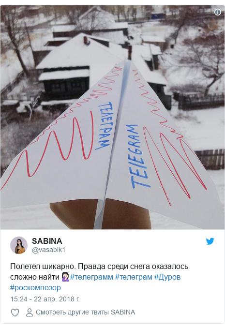 Twitter пост, автор: @vasabik1: Полетел шикарно. Правда среди снега оказалось сложно найти🤦🏻♀️#телеграмм #телеграм #Дуров #роскомпозор
