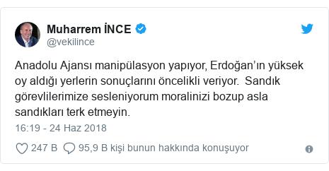 @vekilince tarafından yapılan Twitter paylaşımı: Anadolu Ajansı manipülasyon yapıyor, Erdoğan'ın yüksek oy aldığı yerlerin sonuçlarını öncelikli veriyor.  Sandık görevlilerimize sesleniyorum moralinizi bozup asla sandıkları terk etmeyin.