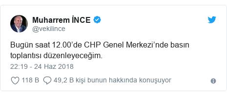 @vekilince tarafından yapılan Twitter paylaşımı: Bugün saat 12.00'de CHP Genel Merkezi'nde basın toplantısı düzenleyeceğim.