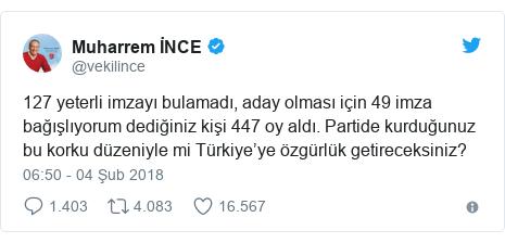 @vekilince tarafından yapılan Twitter paylaşımı: 127 yeterli imzayı bulamadı, aday olması için 49 imza bağışlıyorum dediğiniz kişi 447 oy aldı. Partide kurduğunuz bu korku düzeniyle mi Türkiye'ye özgürlük getireceksiniz?