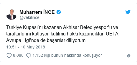 @vekilince tarafından yapılan Twitter paylaşımı: Türkiye Kupası'nı kazanan Akhisar Belediyespor'u ve taraftarlarını kutluyor, katılma hakkı kazandıkları UEFA Avrupa Ligi'nde de başarılar diliyorum.