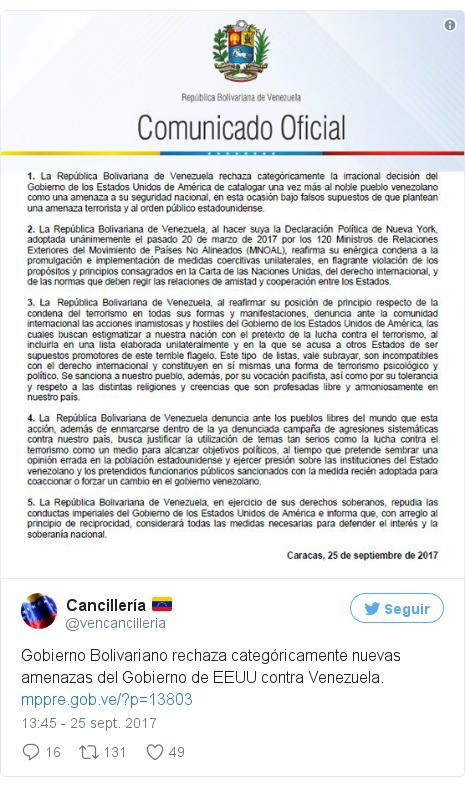 Publicación de Twitter por @vencancilleria: Gobierno Bolivariano rechaza categóricamente nuevas amenazas del Gobierno de EEUU contra Venezuela. https //t.co/AY7u129TWf pic.twitter.com/hAFDHyKNks