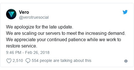 Twitter post by @verotruesocial: We apologize for the late update.We are scaling our servers to meet the increasing demand.We appreciate your continued patience while we work to restore service.