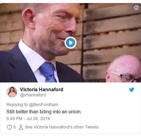 Twitter post by @vhannaford: Still better than biting into an onion.