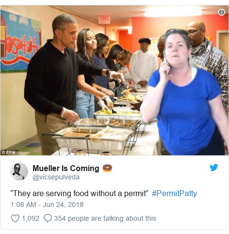 "Twitter post by @vicsepulveda: ""They are serving food without a permit""  #PermitPatty"