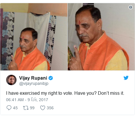 Twitter post by @vijayrupanibjp: I have exercised my right to vote. Have you? Don't miss it.