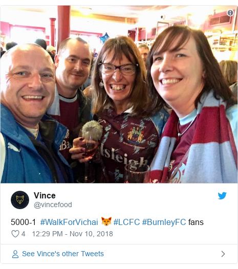 Twitter post by @vincefood: 5000-1  #WalkForVichai 🦊 #LCFC #BurnleyFC fans