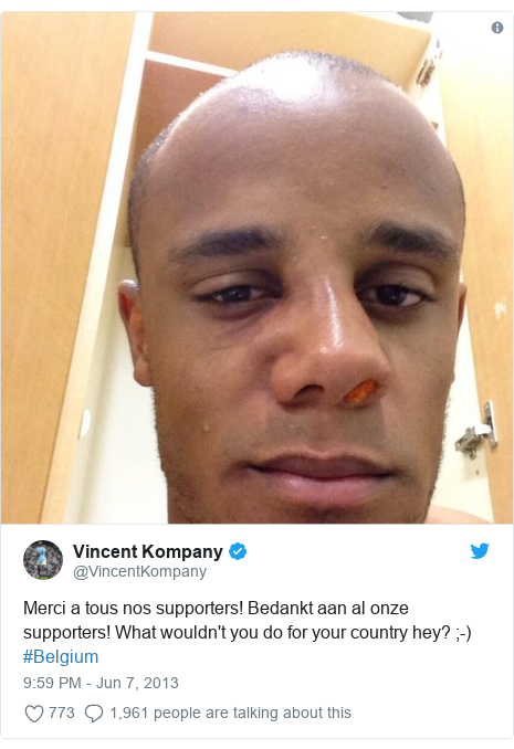 Twitter post by @VincentKompany: Merci a tous nos supporters! Bedankt aan al onze supporters! What wouldn't you do for your country hey? ;-) #Belgium