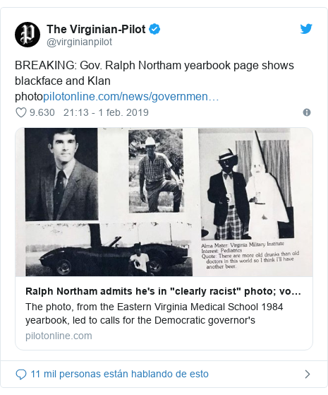 Publicación de Twitter por @virginianpilot: BREAKING  Gov. Ralph Northam yearbook page shows blackface and Klan photo
