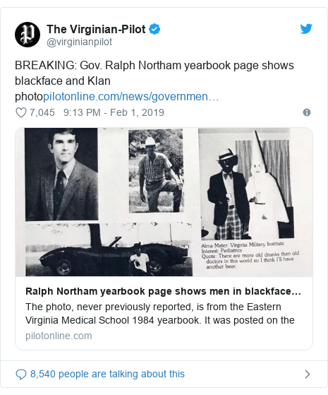 Twitter post by @virginianpilot: BREAKING  Gov. Ralph Northam yearbook page shows blackface and Klan photo