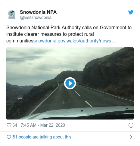 Twitter post by @visitsnowdonia: Snowdonia National Park Authority calls on Government to institute clearer measures to protect rural communities