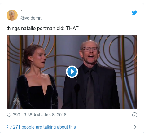 Twitter post by @voIdemrt: things natalie portman did  THAT
