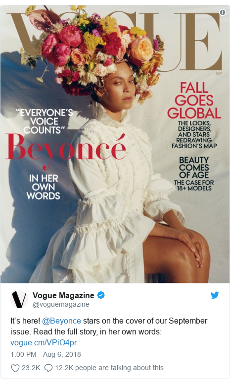 Twitter post by @voguemagazine: It's here! @Beyonce stars on the cover of our September issue. Read the full story, in her own words