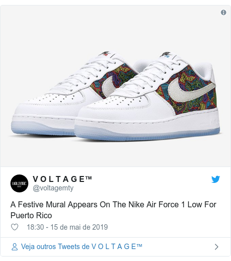 Twitter post de @voltagemty: A Festive Mural Appears On The Nike Air Force 1 Low For Puerto Rico