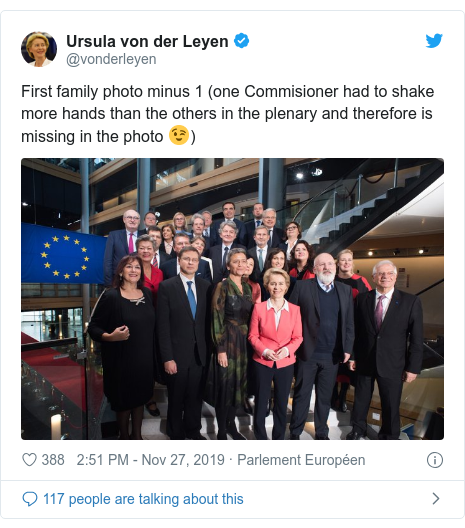 Twitter post by @vonderleyen: First family photo minus 1 (one Commisioner had to shake more hands than the others in the plenary and therefore is missing in the photo 😉)