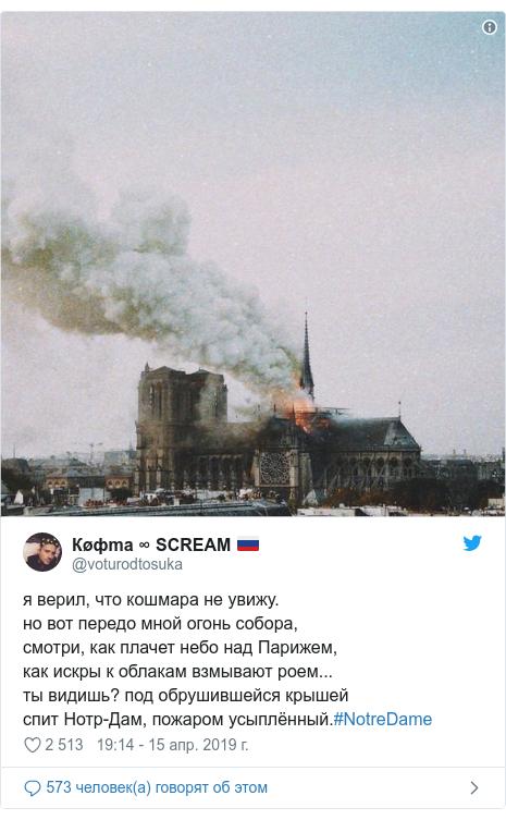 Twitter пост, автор: @voturodtosuka: я верил, что кошмара не увижу.но вот передо мной огонь собора,смотри, как плачет небо над Парижем,как искры к облакам взмывают роем...ты видишь? под обрушившейся крышейспит Нотр-Дам, пожаром усыплённый.#NotreDame