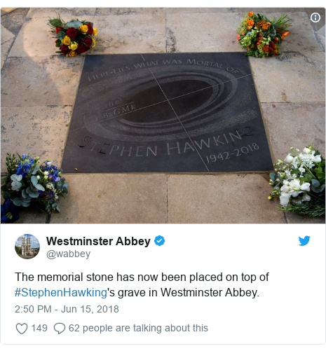 Twitter post by @wabbey: The memorial stone has now been placed on top of #StephenHawking's grave in Westminster Abbey.