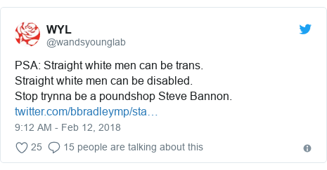 Twitter post by @wandsyounglab: PSA  Straight white men can be trans.Straight white men can be disabled.Stop trynna be a poundshop Steve Bannon.