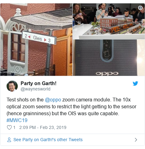 Twitter post by @waynesworld: Test shots on the @oppo zoom camera module. The 10x optical zoom seems to restrict the light getting to the sensor (hence grainniness) but the OIS was quite capable. #MWC19