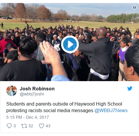 Twitter post by @wbbj7joshr: Students and parents outside of Haywood High School protesting racists social media messages @WBBJ7News